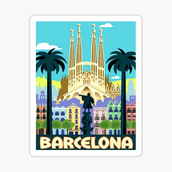 BARCELONA SPAIN : Vintage Travel and Tourism Advertising Print Sticker