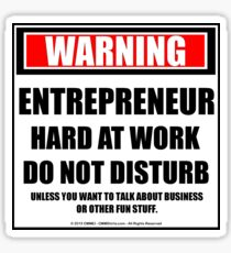 Warning Entrepreneur Hard At Work Do Not Disturb Sticker