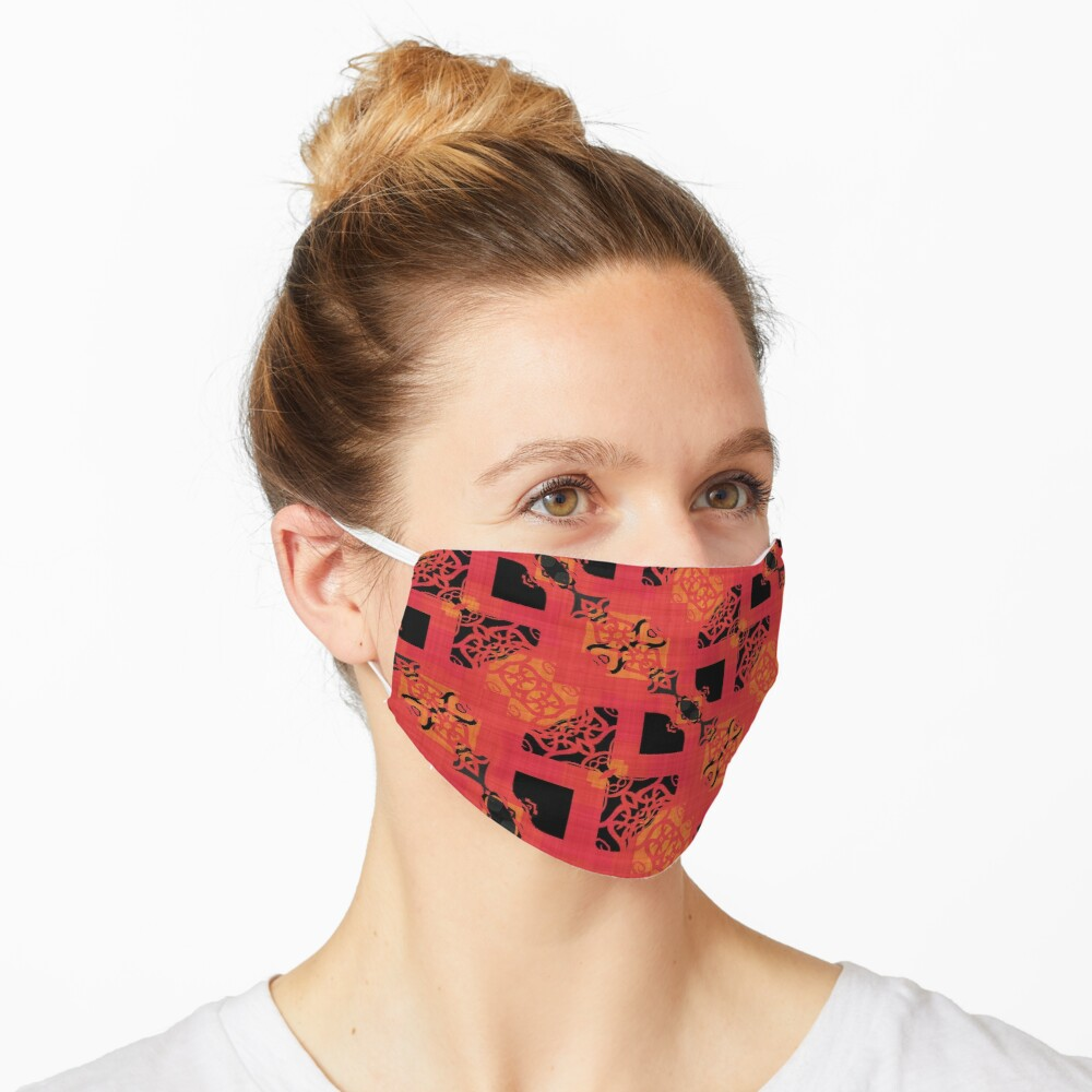 Black Red Gold Chinese Party Cracker Pattern  Mask