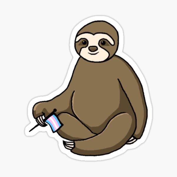 Sloth Holding Transgender Flag Sticker