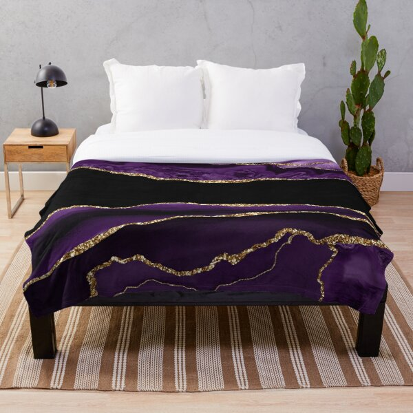 Purple & Gold Agate Texture 11 Throw Blanket