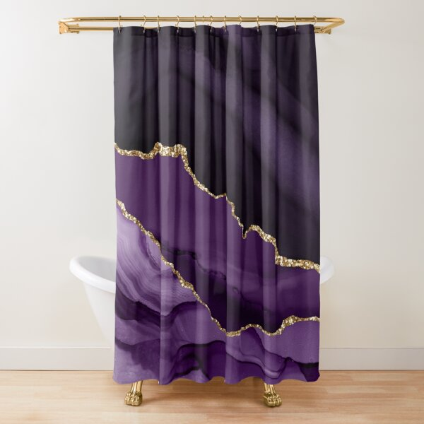 Purple & Gold Agate Texture 12 Shower Curtain