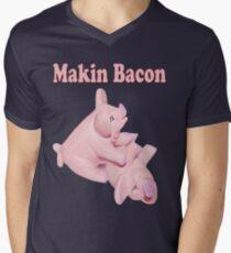✾◕‿◕✾ MAKIN BACON TEE SHIRT ✾◕‿◕✾ Mens V-Neck T-Shirt