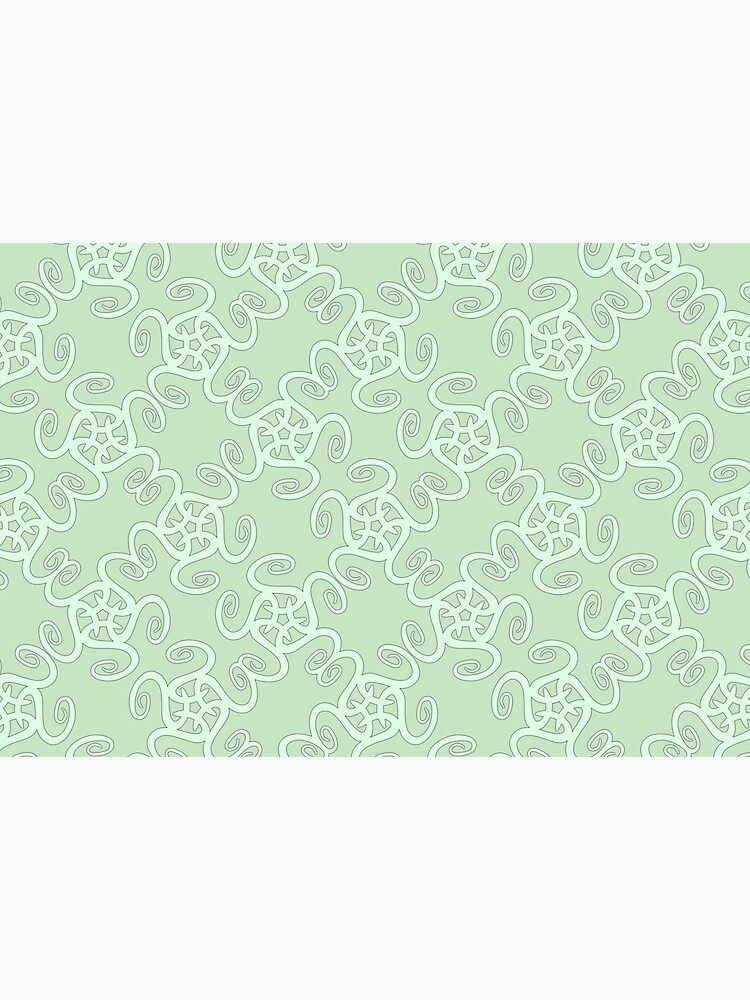 Duck Egg Blue and Pale Green Spiral Pattern by RootSquare