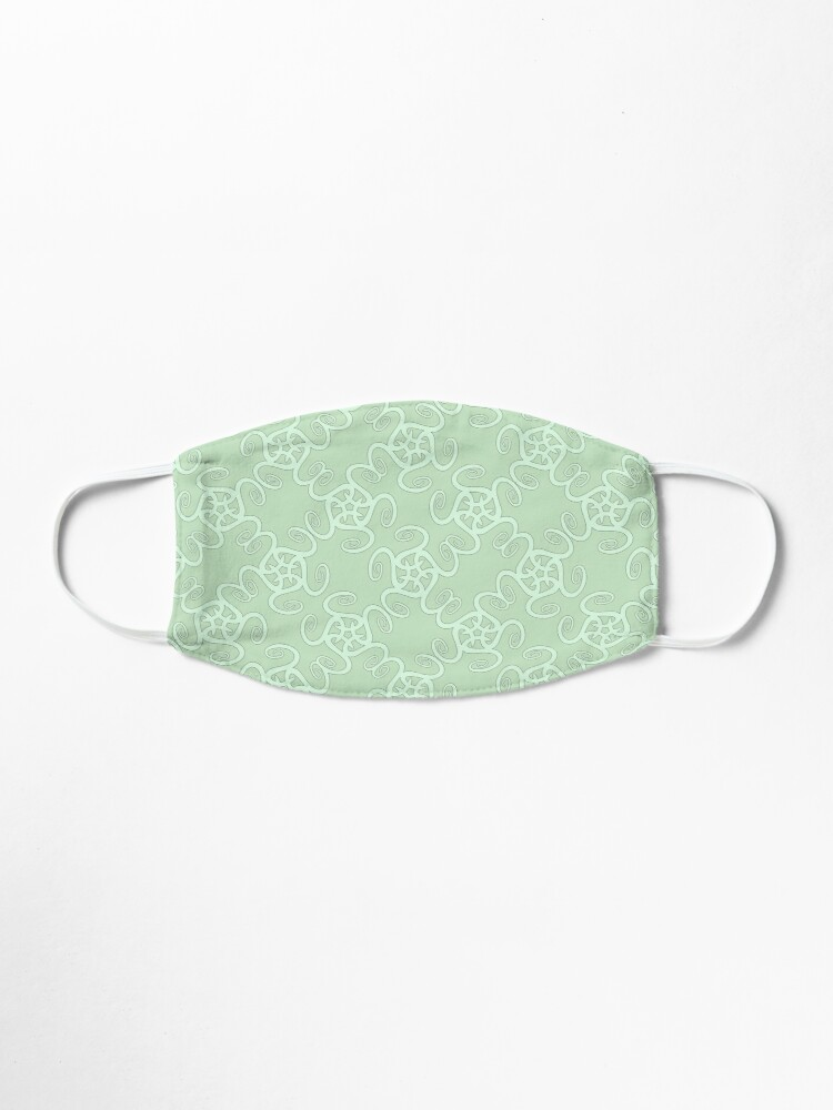 Alternate view of Duck Egg Blue and Pale Green Spiral Pattern Mask