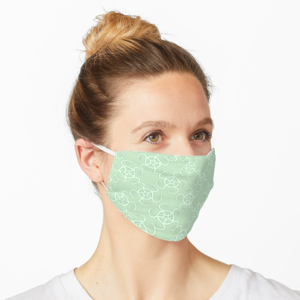 Duck Egg Blue and Pale Green Spiral Pattern Mask