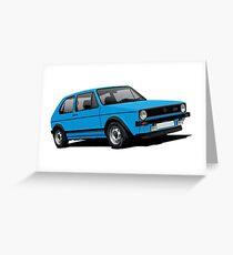 Volkswagen Golf GTI Mk1 illustration blue Greeting Card