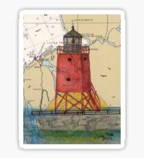 Charlevoix Pier Lighthouse MI Nautical Chart Cathy Peek Sticker
