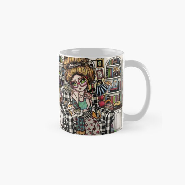 Crazy Cat Lady in Buffalo Check Chair Classic Mug