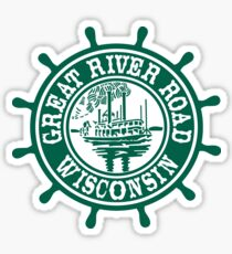 Great River Road Sign, Wisconsin, USA Sticker