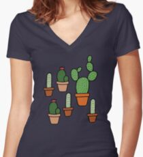 Cactus Pattern Women's Fitted V-Neck T-Shirt