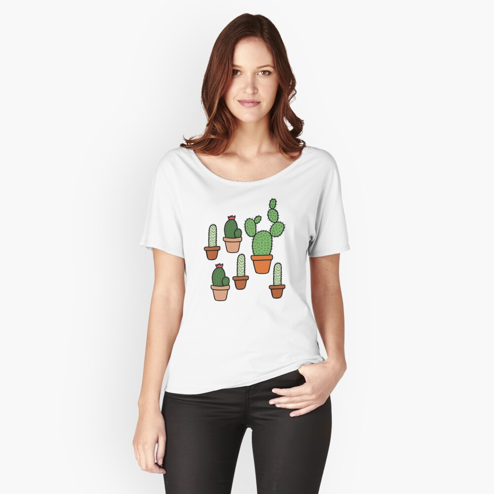 Pink Cactus Pattern Women's Relaxed Fit T-Shirt Front