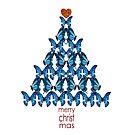 Blue Butterfly Christmas Tree by Cherie Roe Dirksen