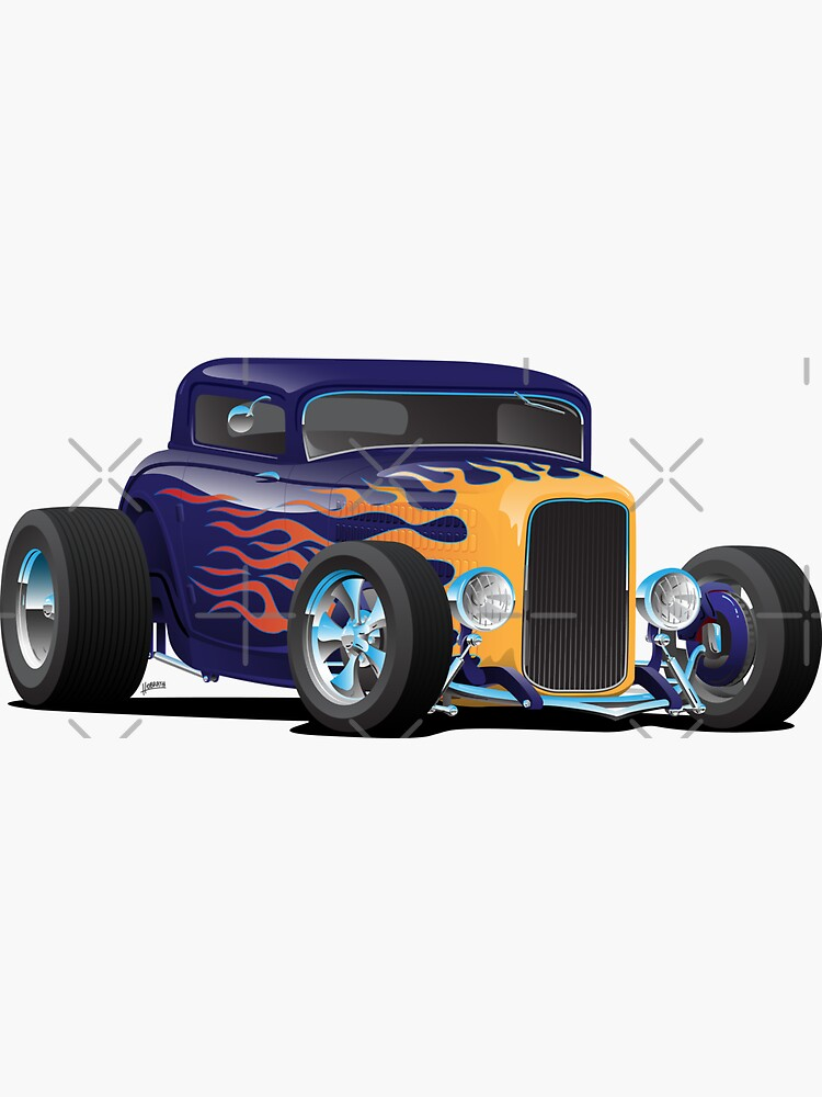 Vintage Hot Rod Car with Classic Flames by hobrath