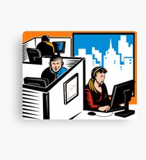Telemarketer Office Worker Retro Canvas Print