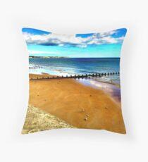 Bridlington beach Throw Pillow