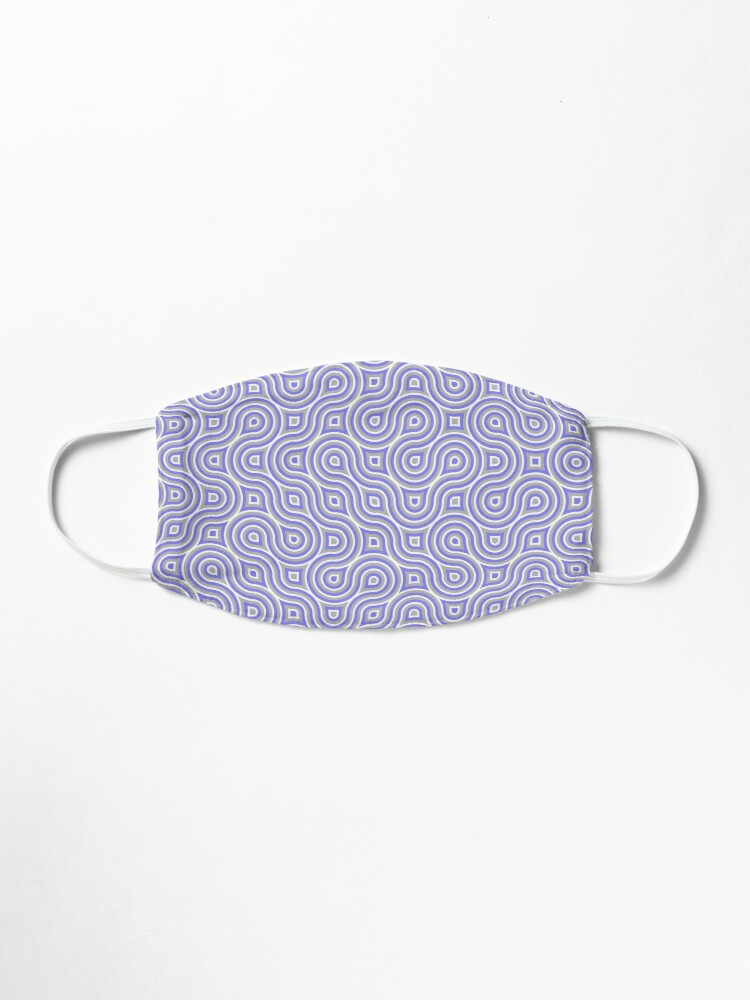 Alternate view of Light Blue Grey White Wavy Geometric Pattern Mask