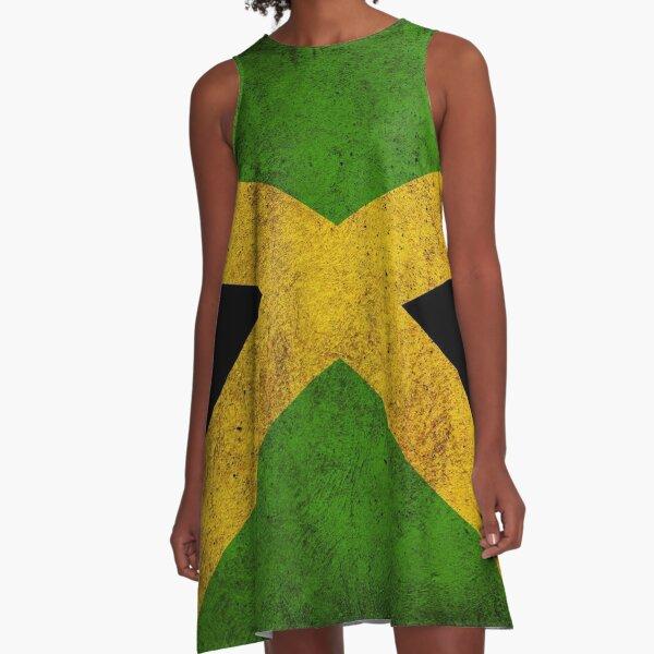 Jamaican Flag A-Line Dress