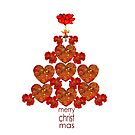 Red Heart and Poppy Christmas Tree by Cherie Roe Dirksen