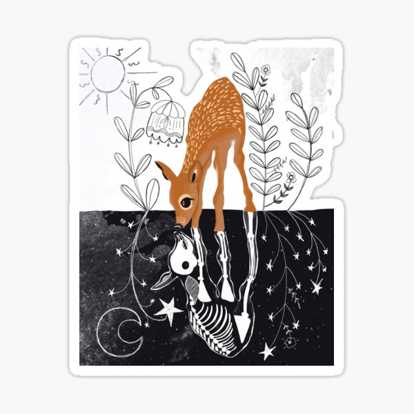 Deer Reflection Art, Folk Art, Skeleton, Dark Art Sticker