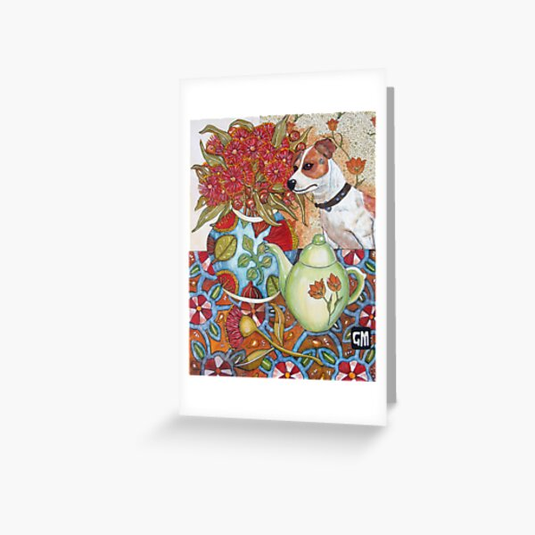 Still LIfe with Chien Greeting Card