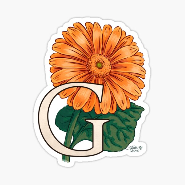 G is for Gerbera Flower Monogram Floating Sticker