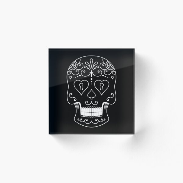 Mexican Calavera Skull White - Day of the Dead Acrylic Block