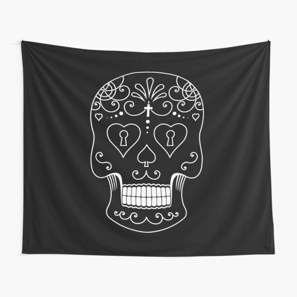 Mexican Calavera Skull White - Day of the Dead Tapestry