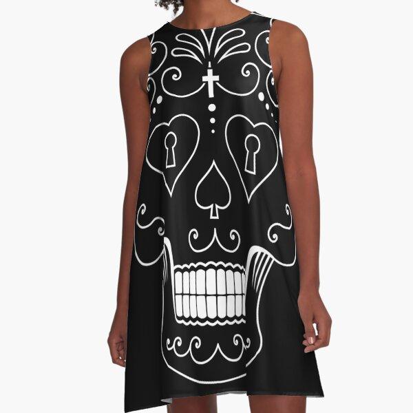 Mexican Calavera Skull White - Day of the Dead A-Line Dress