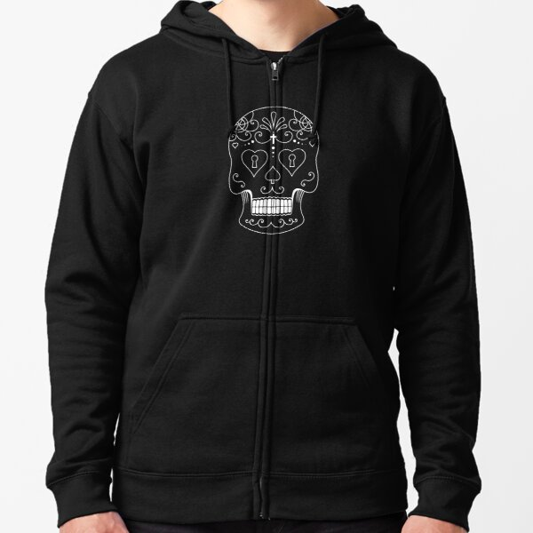 Mexican Calavera Skull White - Day of the Dead Zipped Hoodie