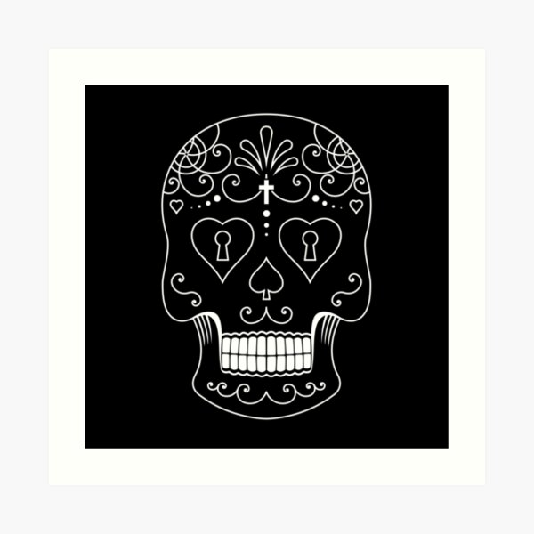 Mexican Calavera Skull White - Day of the Dead Art Print