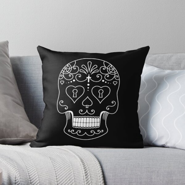 Mexican Calavera Skull White - Day of the Dead Throw Pillow