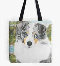 Rowdy ~ Australian Shepherd ~ Oil Painting Tote Bag