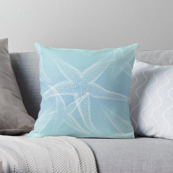 Starfish Aqua Blue Beach Throw Pillow