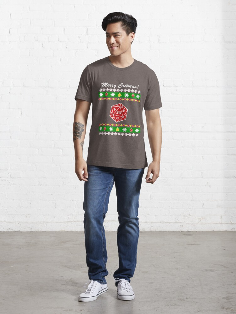 Alternate view of Merry Critmas! Ugly Christmas Sweater Essential T-Shirt