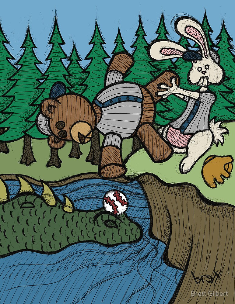 Teddy Bear And Bunny - The Baseball by Brett Gilbert