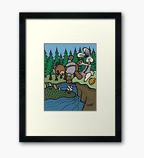 Teddy Bear And Bunny - The Baseball Framed Print