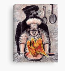 Frying Phoenix ink and colored pencil drawing Canvas Print
