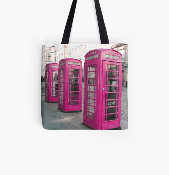 Pink Phone Boxes All Over Print Tote Bag