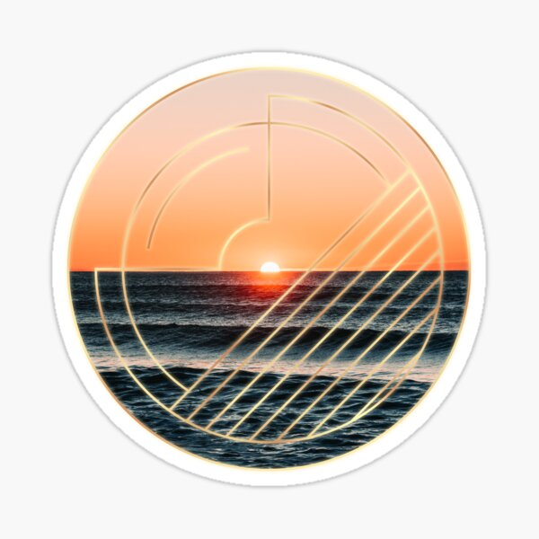 Beach Sunset Circular Geometric Art Deco Design Sticker