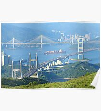 Three famous bridges in Hong Kong at day Poster