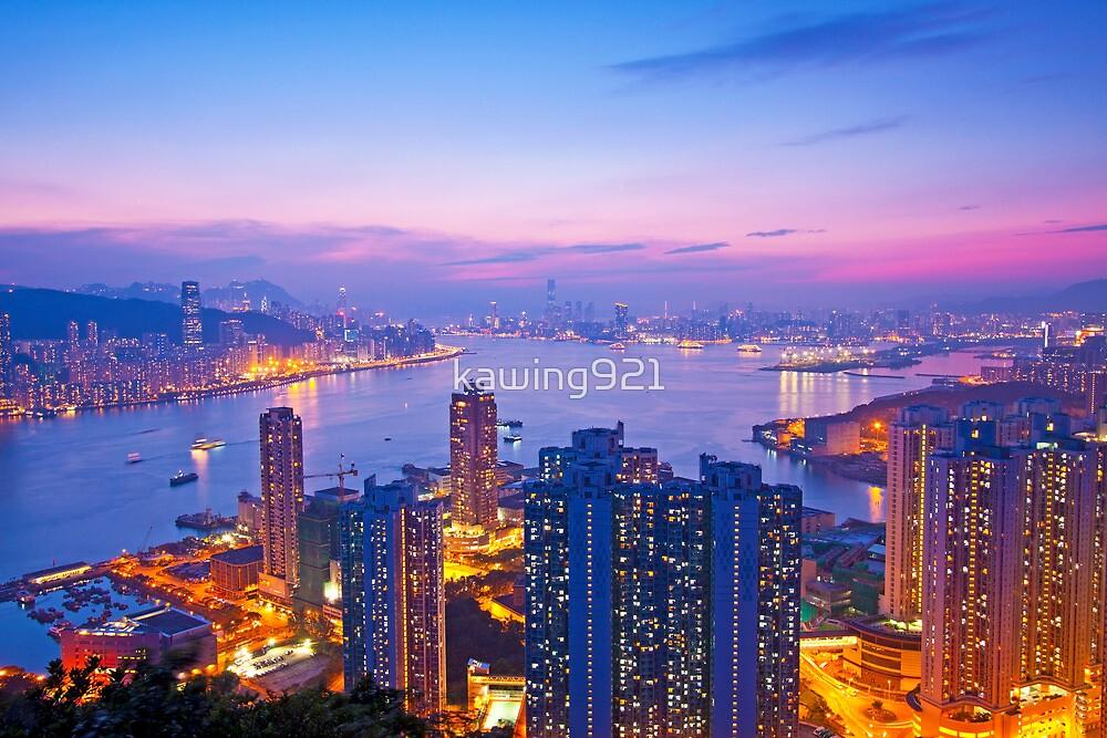 Hong Kong at sunset moment by kawing921
