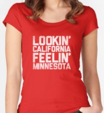 Lookin' California, Feelin' Minnesota (White) Women's Fitted Scoop T-Shirt