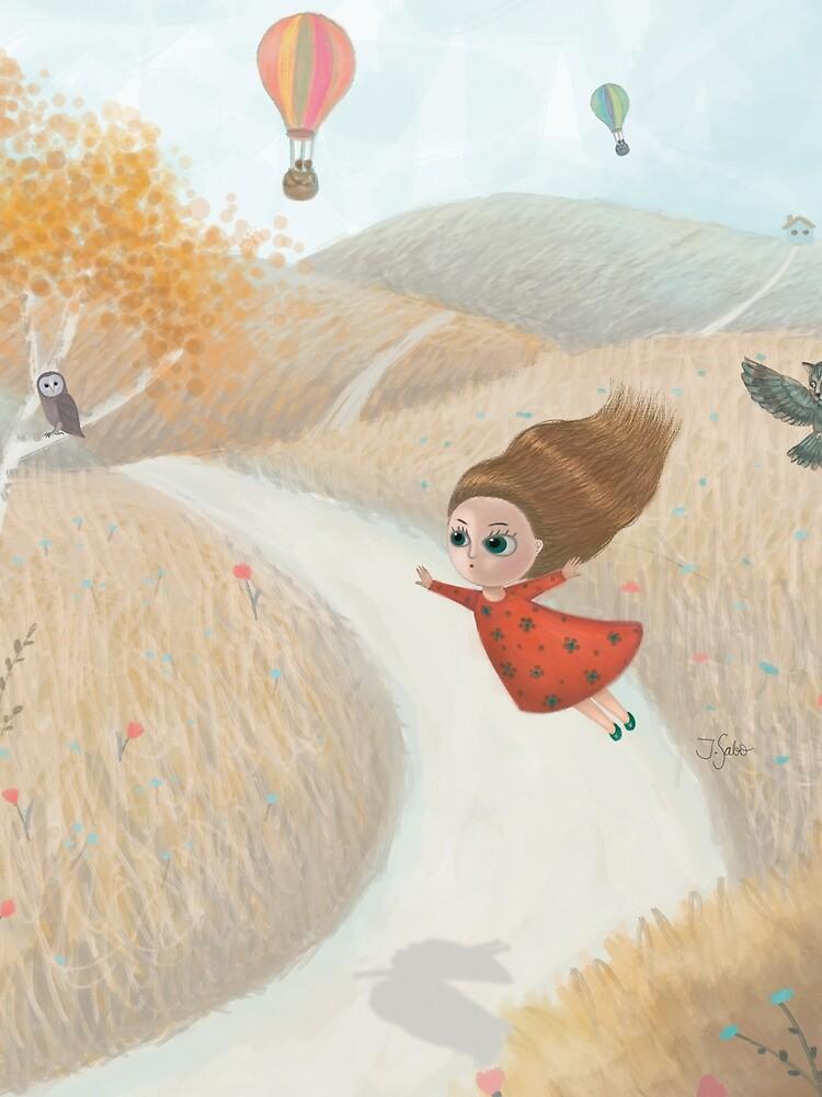 Little Girl Flying Away by LovelyOwlie
