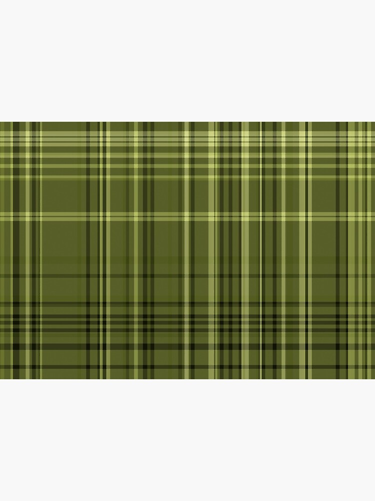 Olive Green Colored Plaid Fabric Pattern by RootSquare