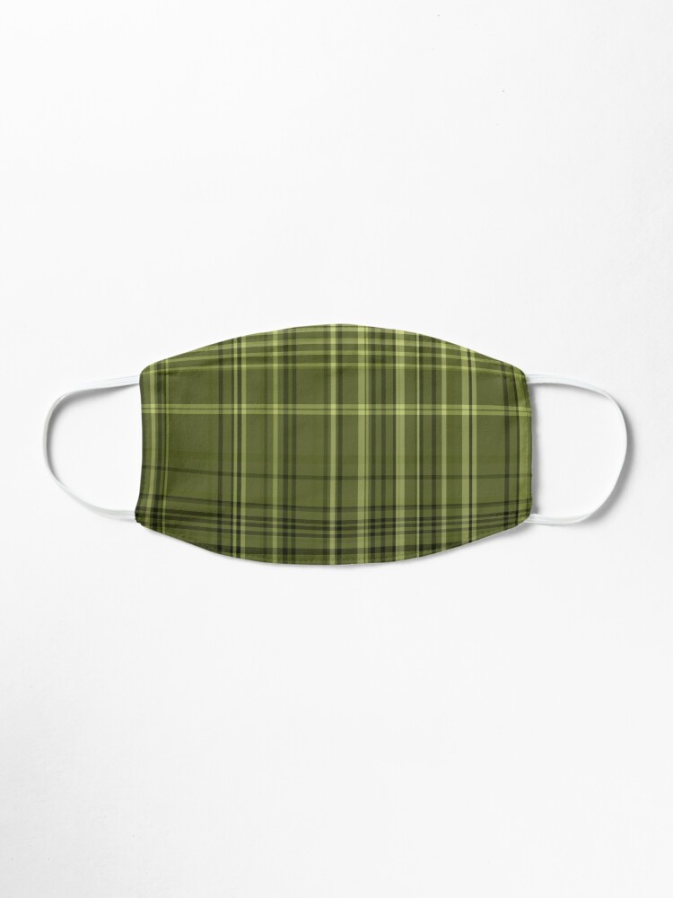Alternate view of Olive Green Colored Plaid Fabric Pattern Mask