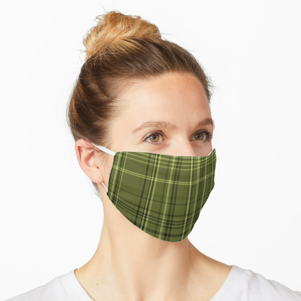 Olive Green Colored Plaid Fabric Pattern Mask