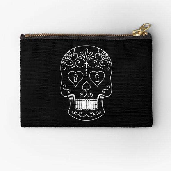 Mexican Calavera Skull White - Day of the Dead Zipper Pouch