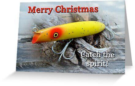 christmas greeting card - gibbs darter vintage fishing lure, Hard Baits