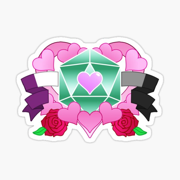 DiceHeart - Pride Month 2020 - ACE BANNER, GREEN DICE Sticker